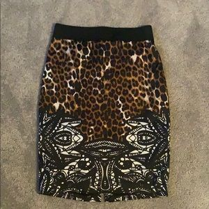 Patterned, silky pencil skirt